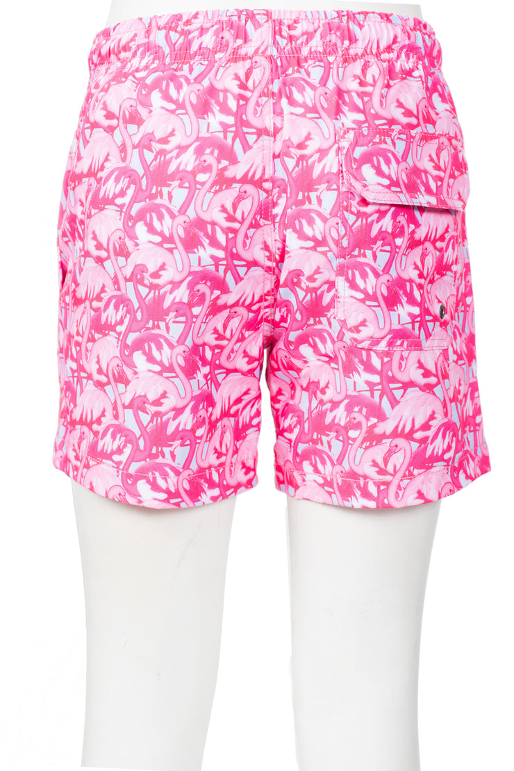 BOYS FLAMINGO SWIM SHORTS - BRIGHT PINK