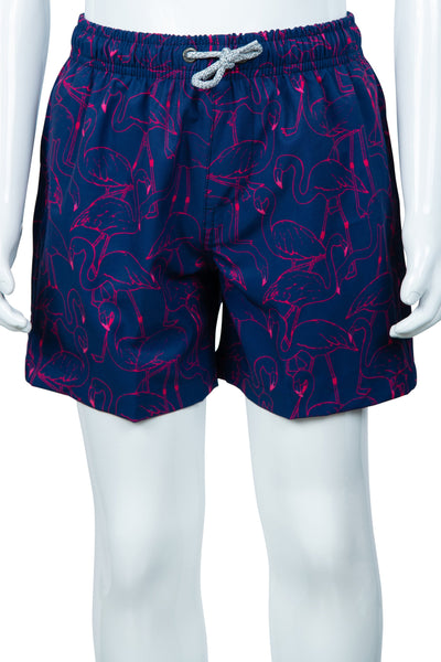 TODDLER ALL OVER EMBROIDERED SWIM SHORTS - NAVY