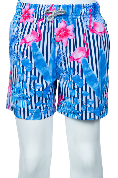 BOYS STRIPED SWIM SHORTS - LT BLUE