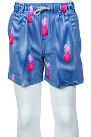 BOYS STRIPED PINECONE SWIM SHORTS - NAVY