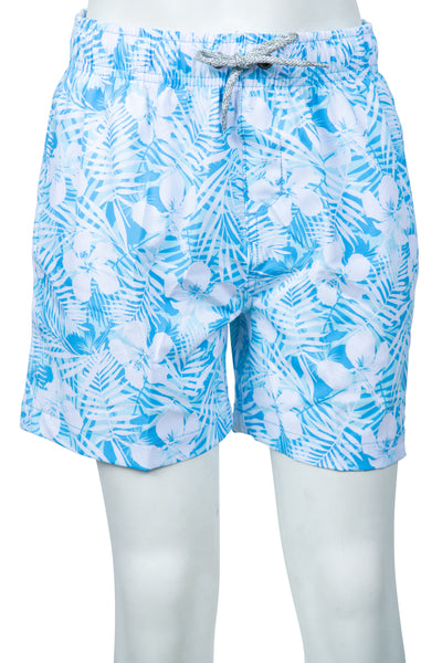 BOYS FLOWER PRINT SWIM SHORTS - LT BLUE