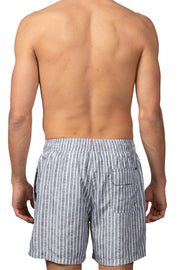 STRIPED SWIM SHORTS - GREY