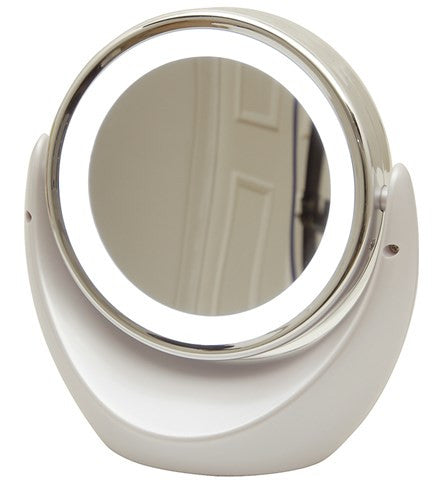 Dual Sided Magnifying Mirror w/LED for bathroom, table or nightstand
