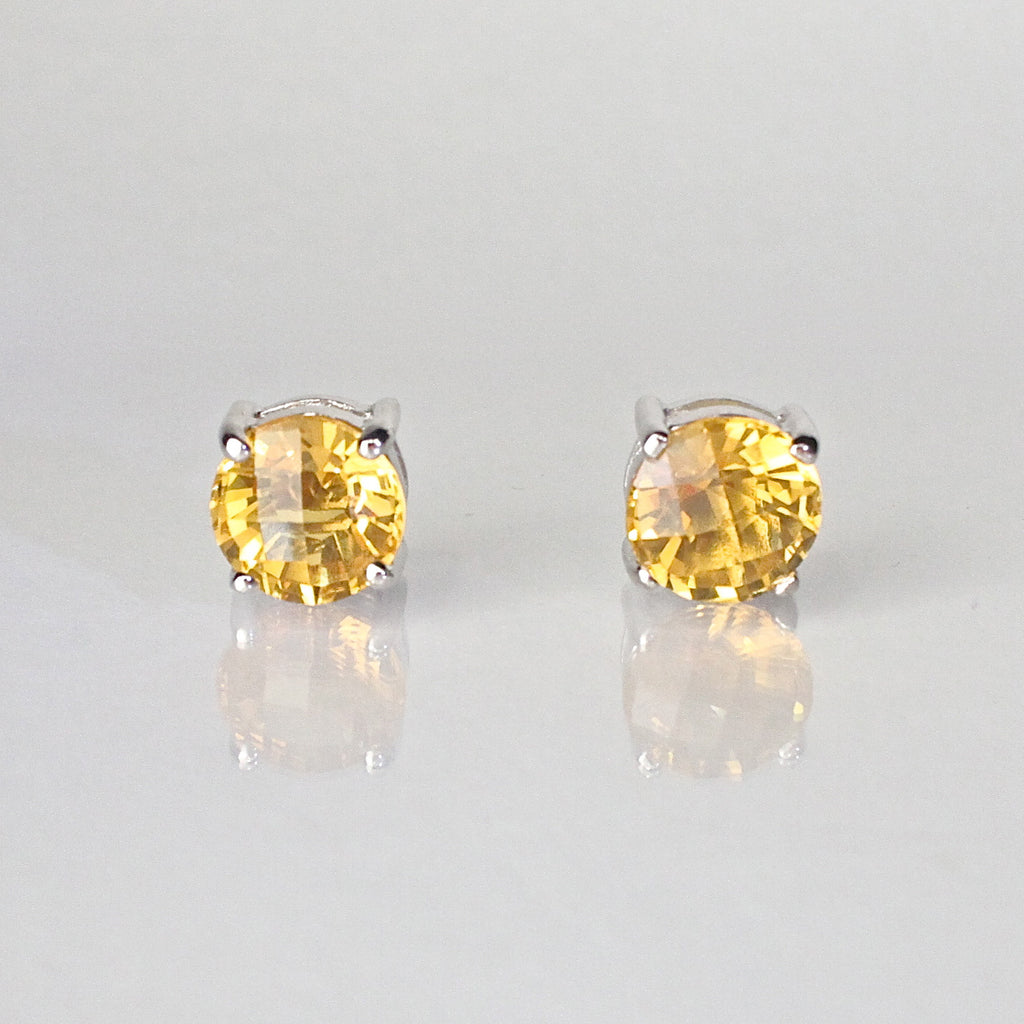 jewellers product gold stud earrings yellow jollys citrine
