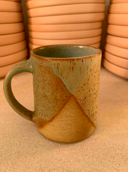 Clay by Khoa Dark Green x White (Green Handle) Mugs