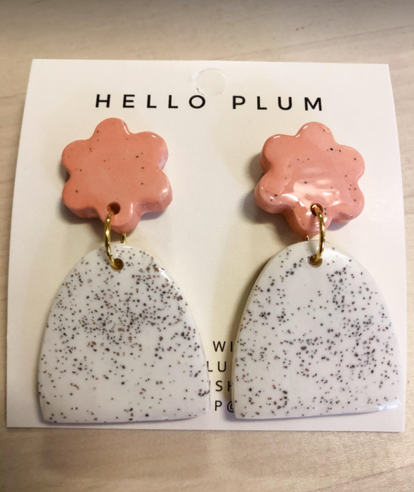 Hello Plum Cement Pastel Earrings Half Moon #7