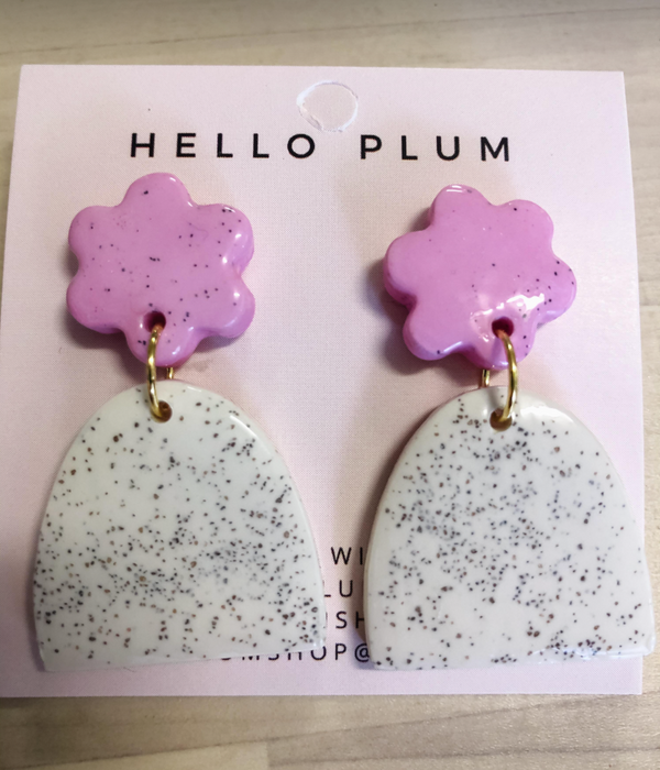 Hello Plum Cement Pastel Earrings Half Moon #8