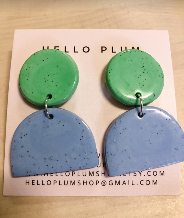 Hello Plum Cement Pastel Earrings Half Moon #2