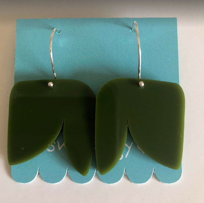 This Wee Piggy Green Planty Drop Earrings