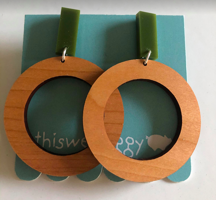 This Wee Piggy Green x Timber Hoop Earrings