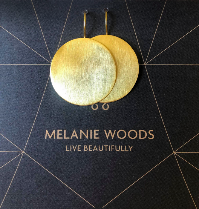 Melanie Woods Euro Gold Disk Drop Earrings