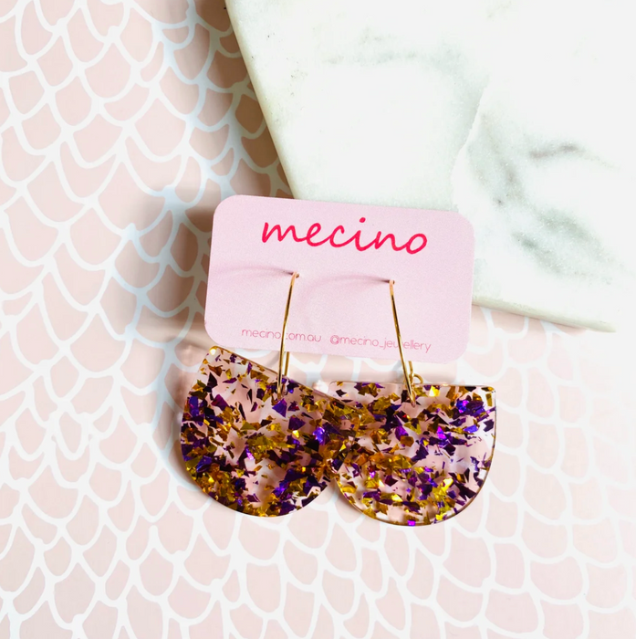 Mecino Bloom Pink and Gold Confetti Mix Earrings