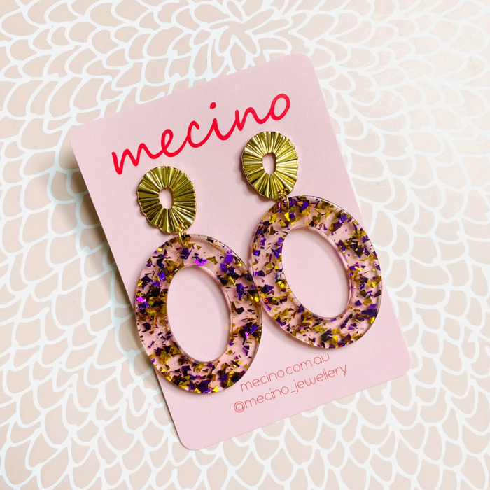 Mecino Pink Girls Resin Oval Earrings
