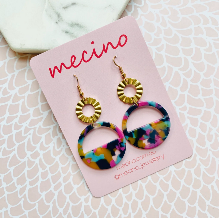 Mecino Anna Mixed Colours Crinkle Circle Earrings