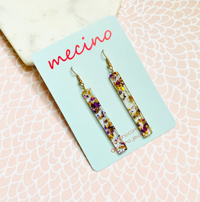 Mecino Bar Drops Pink Confetti / Gold Earrings