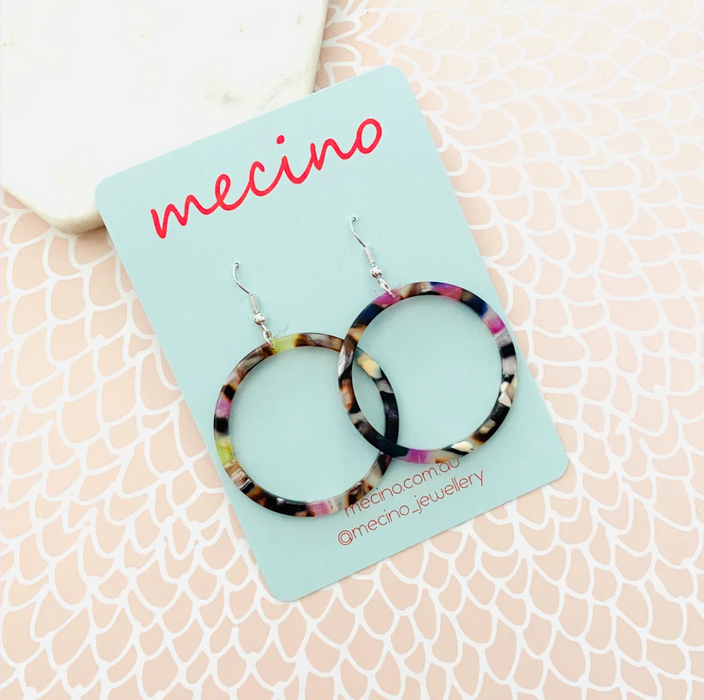 Mecino Purple Mix Lea Hoop Earrings