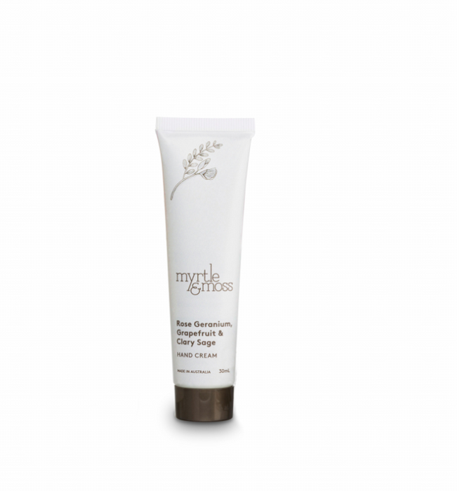 Myrtle + Moss Rose Geranium, Grapefruit & Clary Sage Mini Handcream