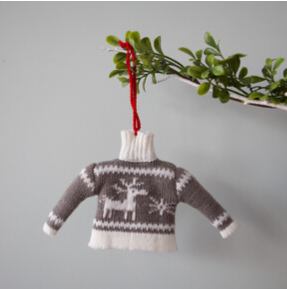 Ugly Sweater Grey Reindeer Christmas Decoration