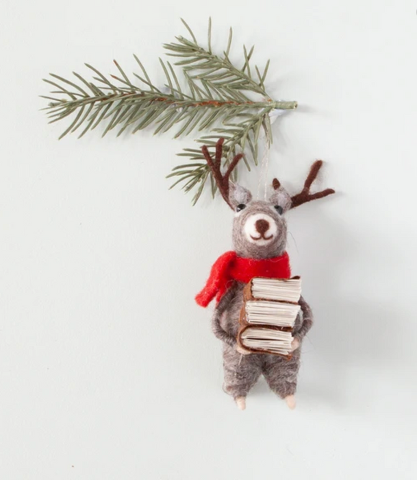 Felt Reindeer with Books Christmas Decoration