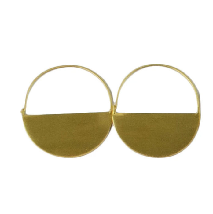 Melanie Woods Euro Gold Half Round Hoop Earrings