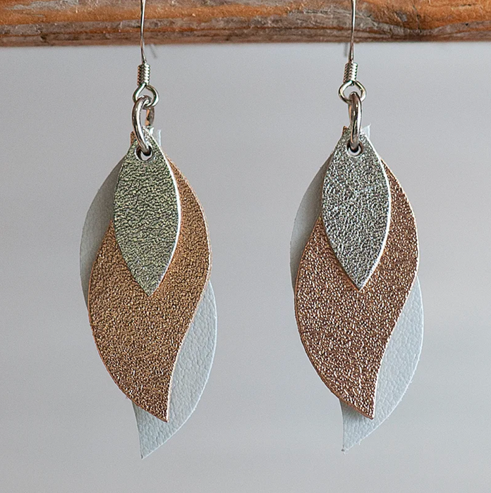 KI and Co Leather Leaf Earrings 'Silver, Rose, Pearl White'