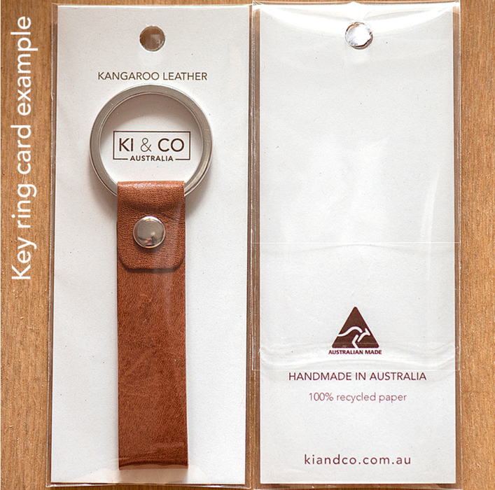 KI and Co Handmade Kangaroo Leather Keyring Tan Brown