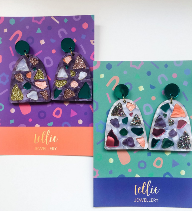 Lellie Jewellery Purple Terrazzo Earrings
