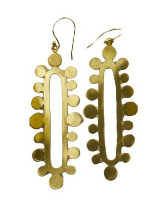 Melanie Woods Euro Gold Long Oval Bubble Earrings