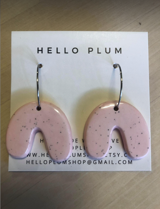 Hello Plum Cement Pastel Earrings U Hoop #3