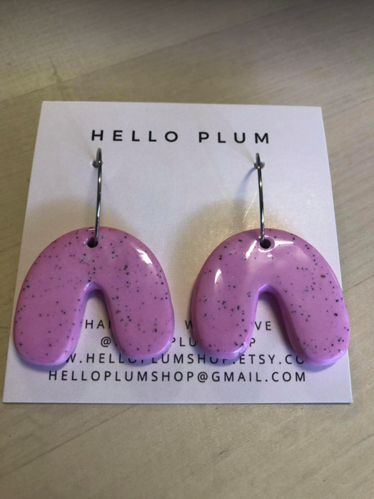 Hello Plum Cement Pastel Earrings U Hoop #5