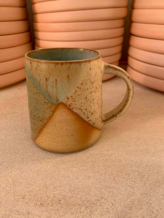 Clay by Khoa Dark Green x White (White Handle) Mugs