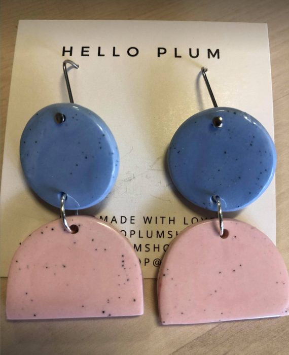 Hello Plum Cement Pastel Earrings Double Drop #2