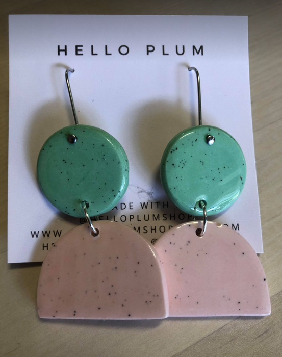 Hello Plum Cement Pastel Earrings Double Drop #4