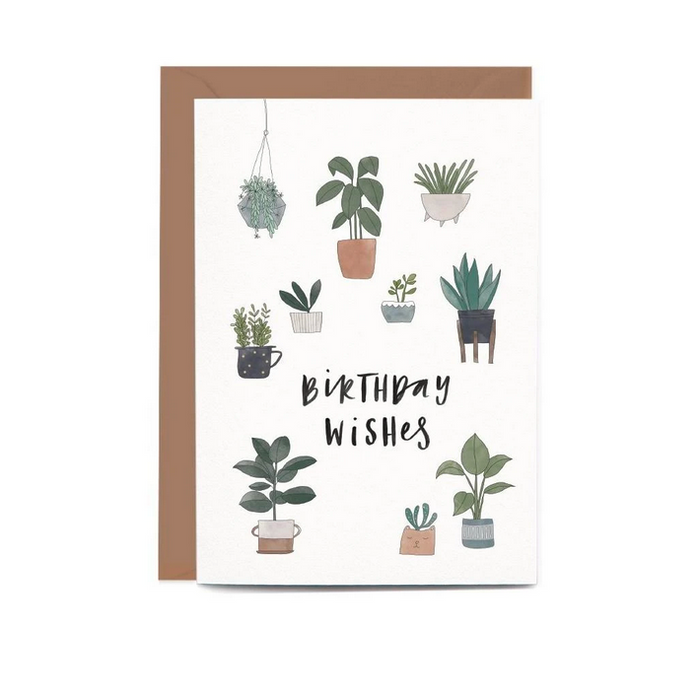 Potted Plants Birthday Greeting Card