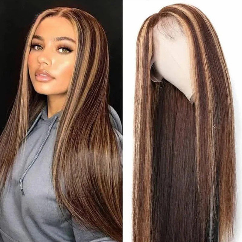 Human Hair Lace Wig Silky Straight Honey Blonde Highlight Color P4/27