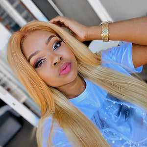 Blonde T Part Lace Wig Silky Straight