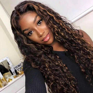 T Part Lace Wig Curly Gold Black Mixed