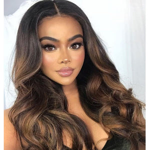 13x4 Lace Wig Body Wave Brown Ombre #1B/10