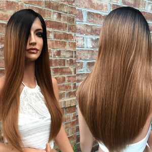 13x4 Lace Wig Silky Straight Black Brown Ombre #1B/33
