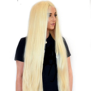 Long Blonde Human Hair T Part Lace Wig Silky Straight