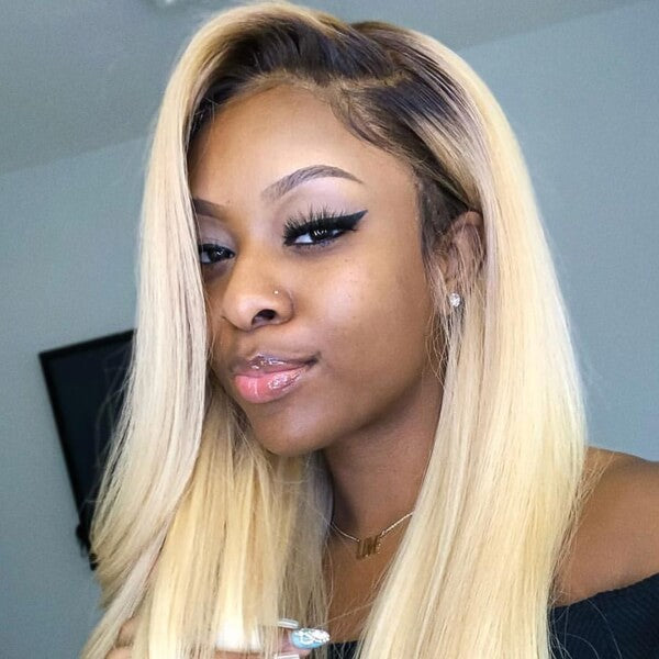 Long Blonde 13x4 Lace Wig Silky Straight T1B/613