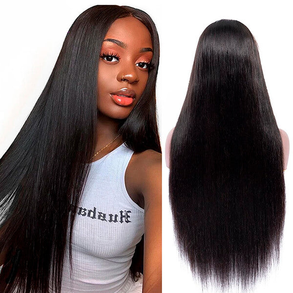 Long Human Hair Wig Silky Straight