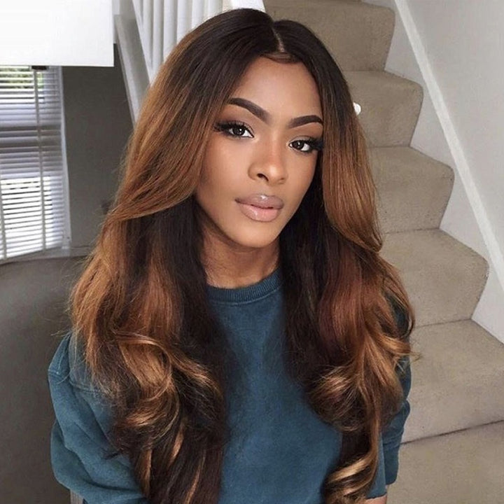 13x4 Lace Wig Body Wave Brown Ombre Color #2/30