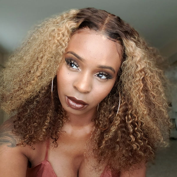 Human Hair Wigs T part Lace Bob Wig Deep Wave Curly
