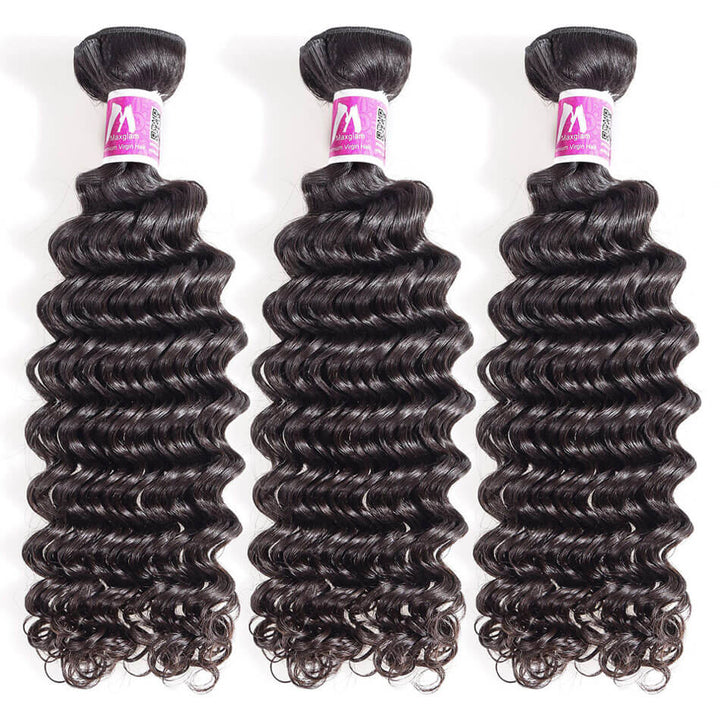 Remy Virgin Hair Weave 3 Bundle Deals Deep Wave