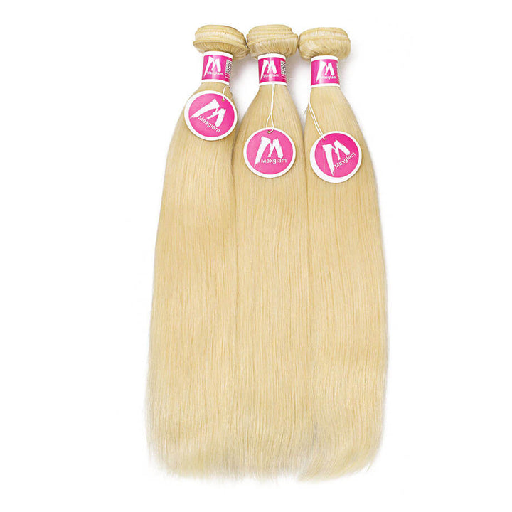 Blonde Hair Weave 3 Bundle Deals Silky Straight #613