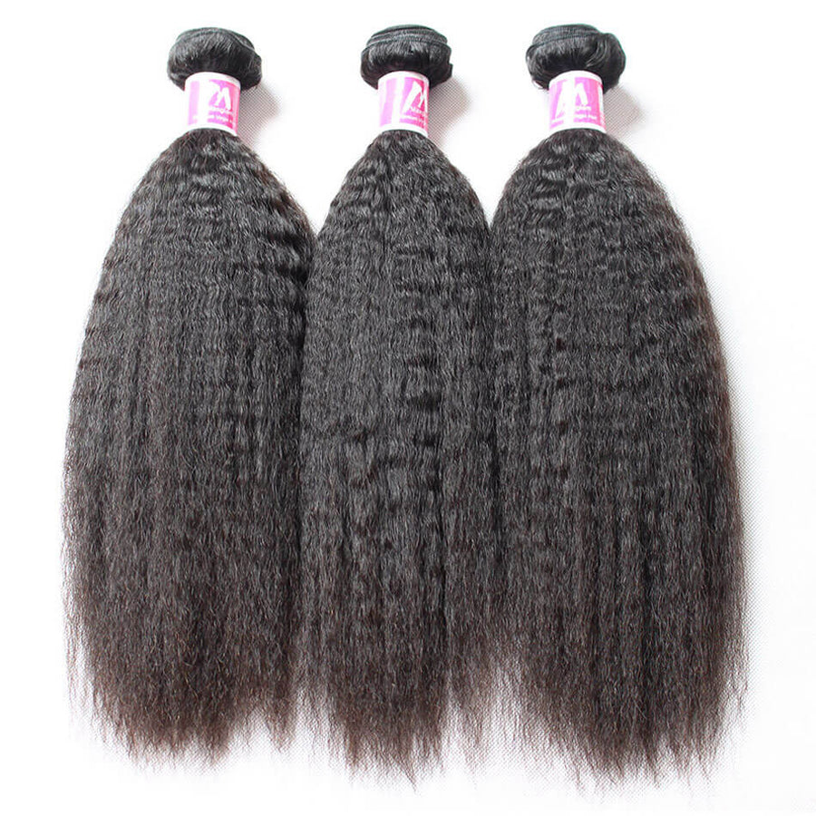 Remy Virgin Hair Weave 3 Bundle Deals Kinky Straight