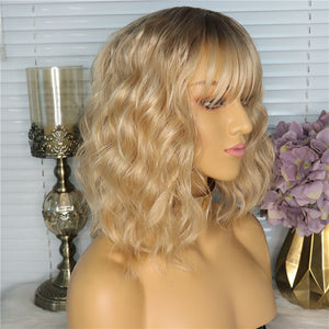 Synthetic Wig Wavy Water Wave Side Part Honey Blonde With Bangs Synthetic Hair 14 inch