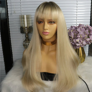Synthetic Wig Silky Straight Bang Wig Long Honey Blonde Machine Made Hair 24 inch