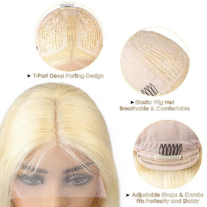 Blonde T Part Lace Bob Wig Silky Straight